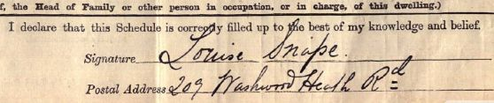 Louisa Hattam's signature from the census return 1911.  This was after her marriage to Louis Snape.  The closest thing we've found to a portrait of Louisa.