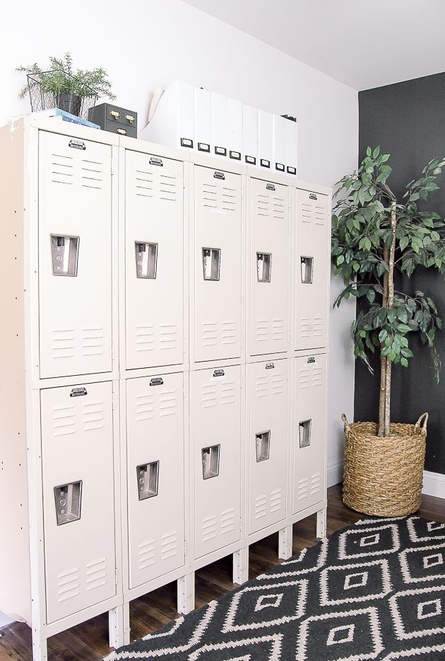 A set of lockers makes the perfect addition for this industrial modern farmhouse office.