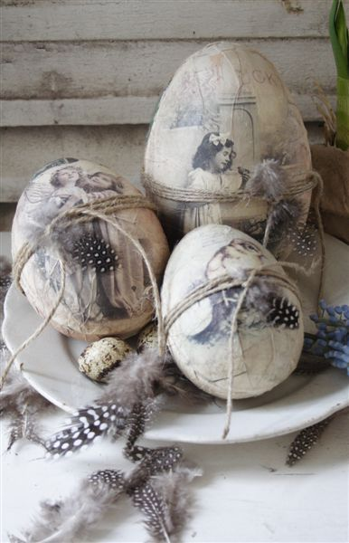 FOR EASTER OR...JUST DISPLAY....NOT A DIY...BUT AN INSPIRATION..Vintage eggs