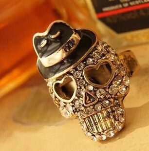 Mr. Hat Diamond Stones Skull Ring //Price: $10.69 & FREE Shipping //     #skull #skullinspiration #skullobsession #skulls