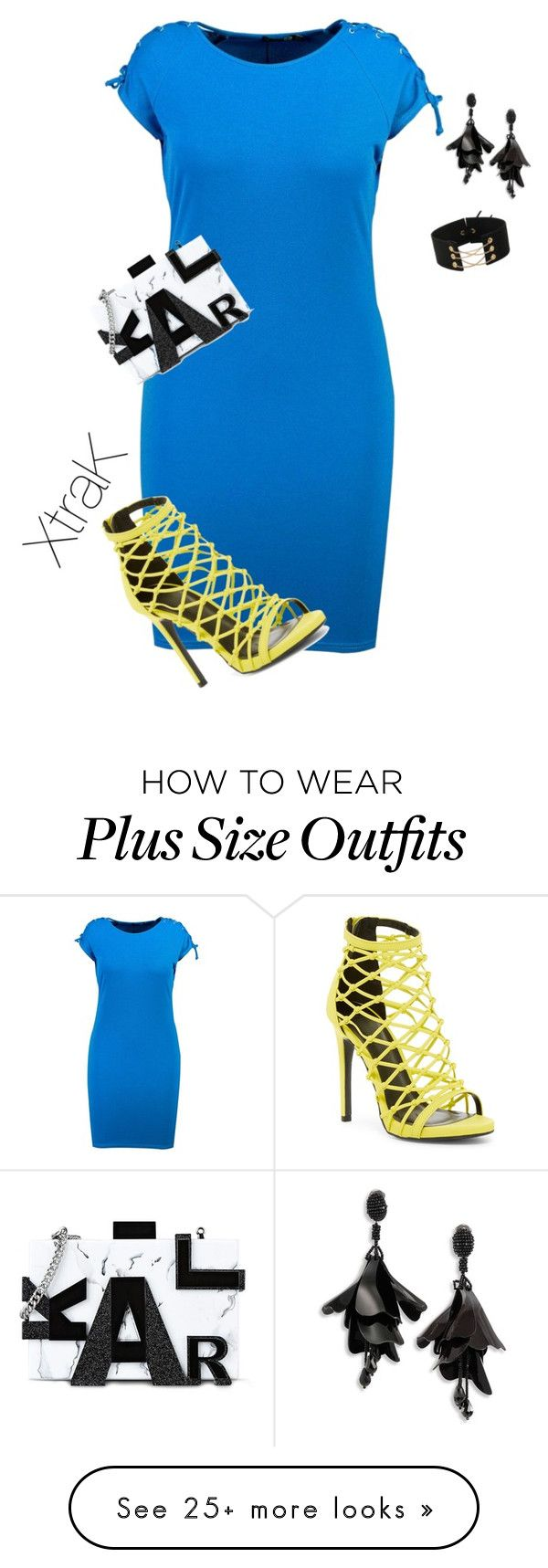 """""""Plus size bright lights and nights"""" by xtrak on Polyvore featuring Boohoo, Wild Diva, Karl Lagerfeld and Oscar de la Renta"""