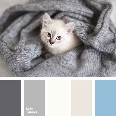 Delicate blue and shades of gray are suitable for decoration of a bedroom or a living room, windows of which face the south..