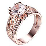 Junxin 10 KT Rose Gold plated Ring, Two Rows of Small Birthday Stone, The Middle of a Big Stone (8) by Junxin $10.99