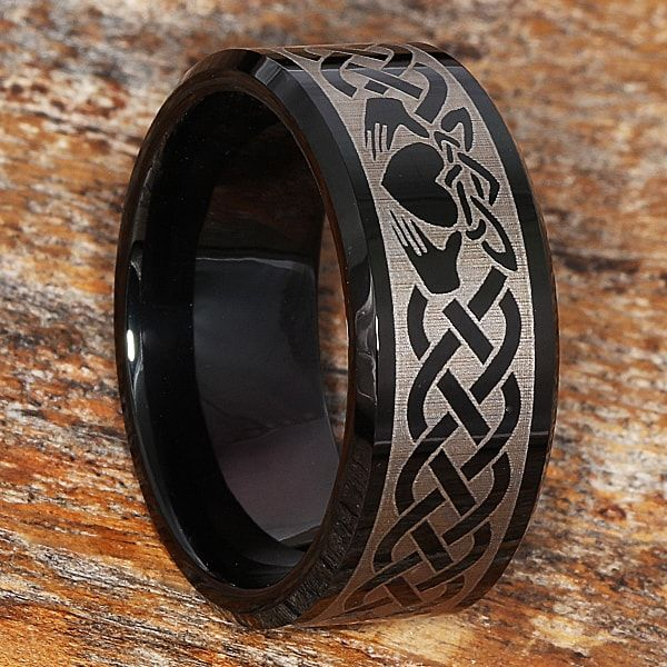Purchase Irish Clatter Rings only from Forever Metals. The 10mm Clatter Promise Rings for men and women are exclusive at Forever Metals in black tungsten.