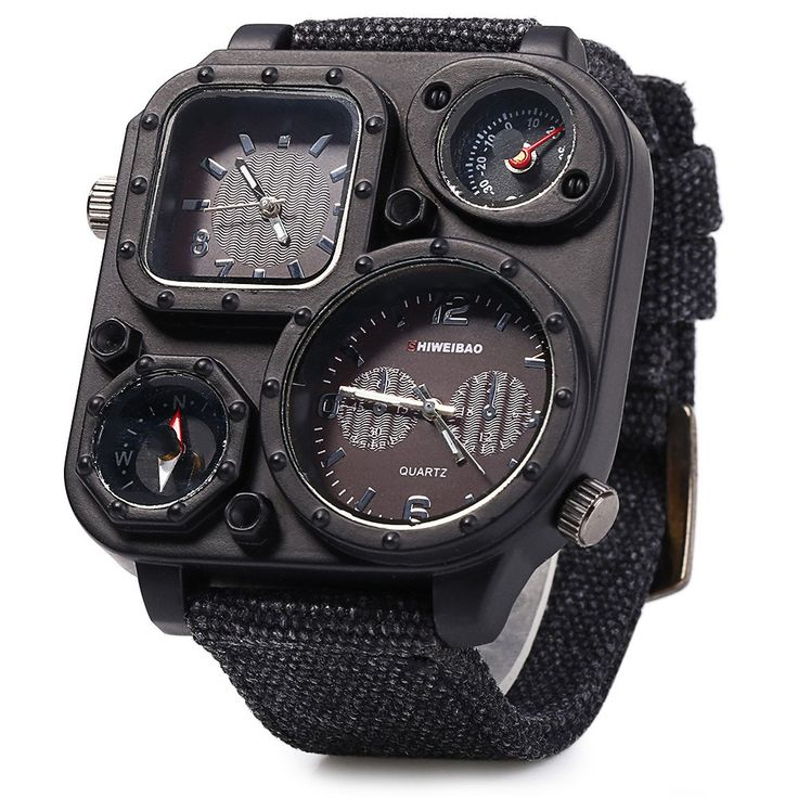 Shiweibao J1169 Dual Movt Decorative Thermometer Compass Men Quartz Watch #CLICK! #clothing, #shoes, #jewelry, #women, #men, #hats