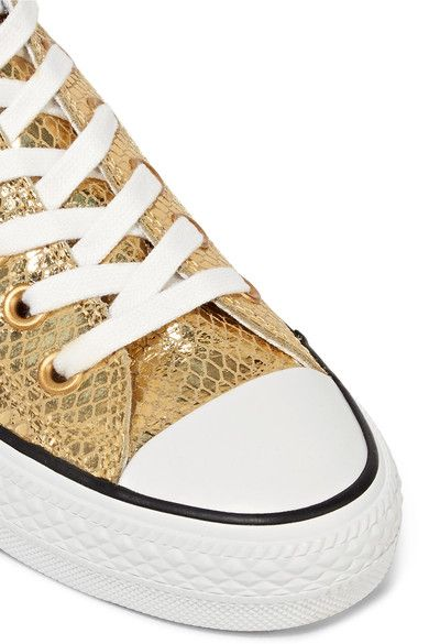 Converse - Chuck Taylor All Star Metallic Snake-effect Leather Sneakers - Gold - UK