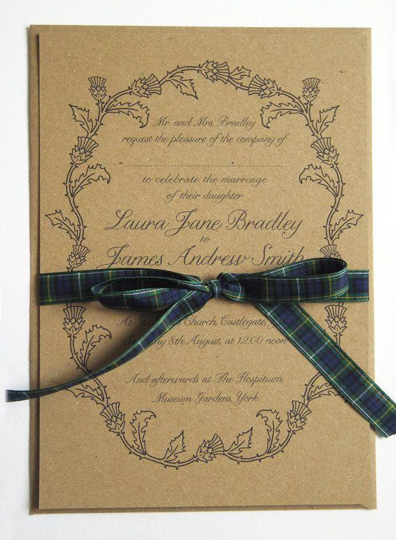 Scottish Thistle Wedding Invitation by STNstationery. Scottish Wedding Tartan #myweddingnow.com #myweddingnow #Top_wedding_invitations #wedding_invitations_DIY #Simple_wedding_invitations #Cute_wedding_invitations #easy_wedding_invitations #Best_wedding_invitations