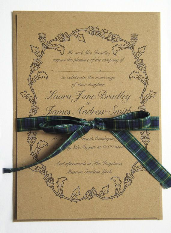 scottish thistle wedding invitation sample