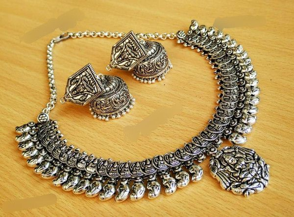 Beautiful oxidised german silver necklace with earring