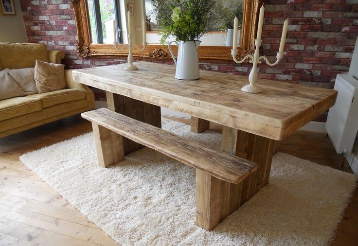 046 - 6ft chunky dining table standard benches