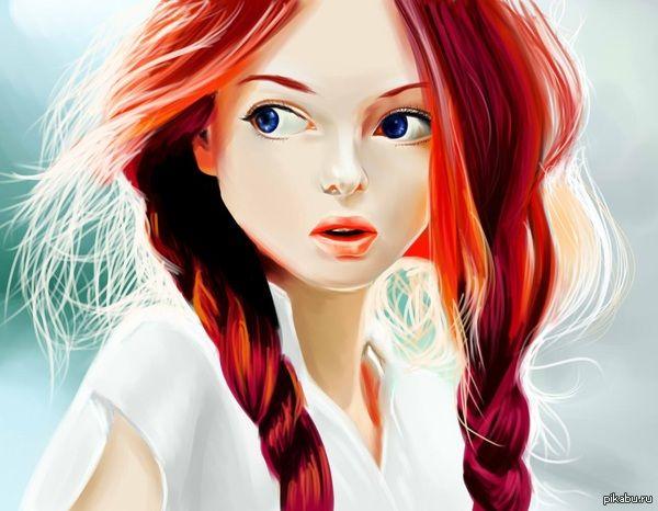 Рыжие аниме девушки арты 5