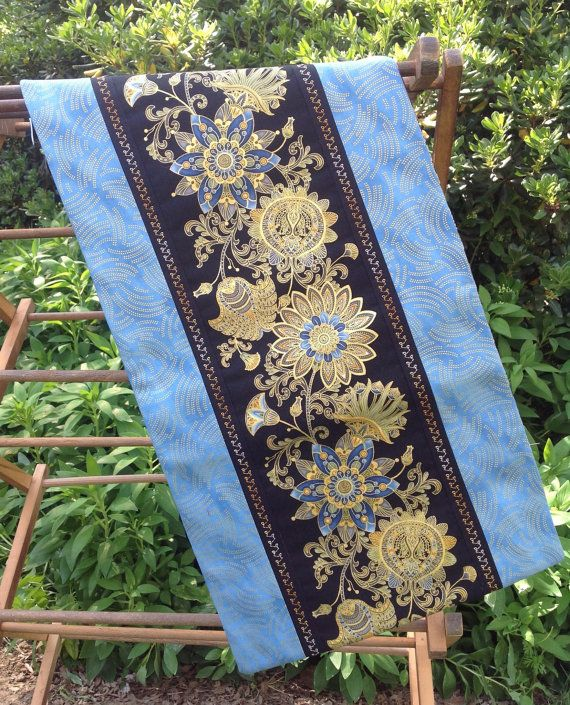 Elegant Floral Table Runner in Blues and Golden by Alidan Creations,