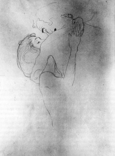 Gustav Klimt, Upper Portion of Two Lovers, 1908