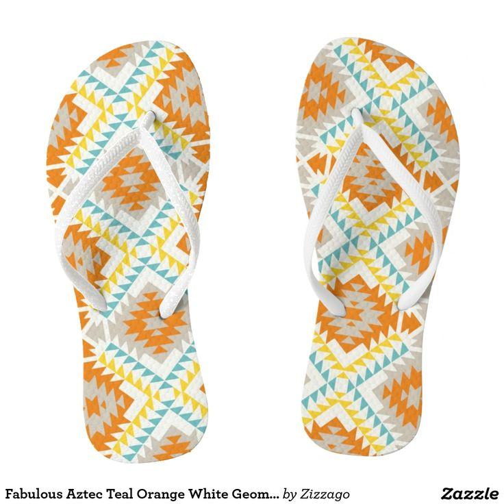 Fabulous Aztec Teal Orange White Geometric