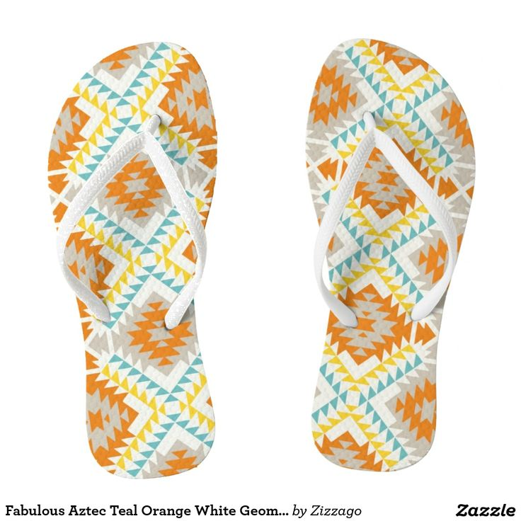 Fabulous Aztec Teal Orange White Geometric
