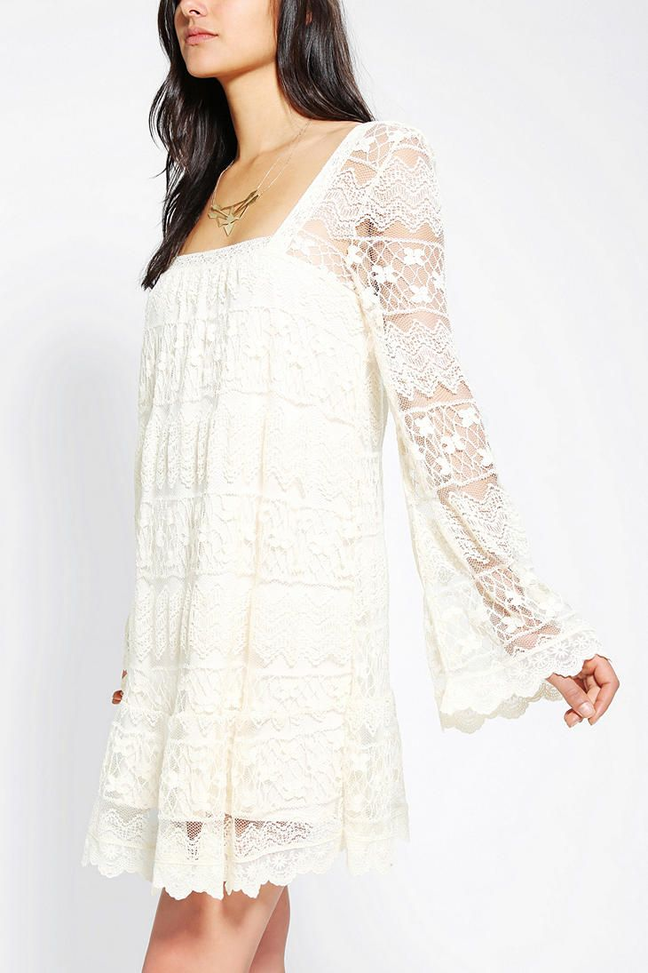 Kimchi blue buttercup lace bell sleeve dress woodstock for Urban outfitters wedding dresses