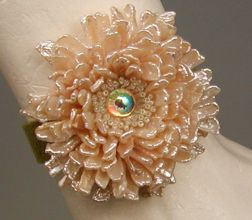 Fleur de Paris embroidered cuff, made with stick pearls, bugle and seed beads, Diane Hyde