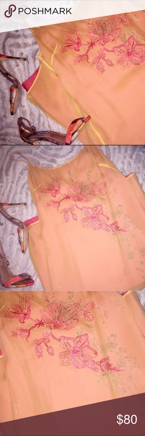 Laundry Cocktail Dress Beautiful orange cherry blossom camisole dress by Laundry. This is such a beautiful and unique piece, in amazing condition and would be appropriate for a formal event or for date night. Laundry By Shelli Segal Dresses Midi