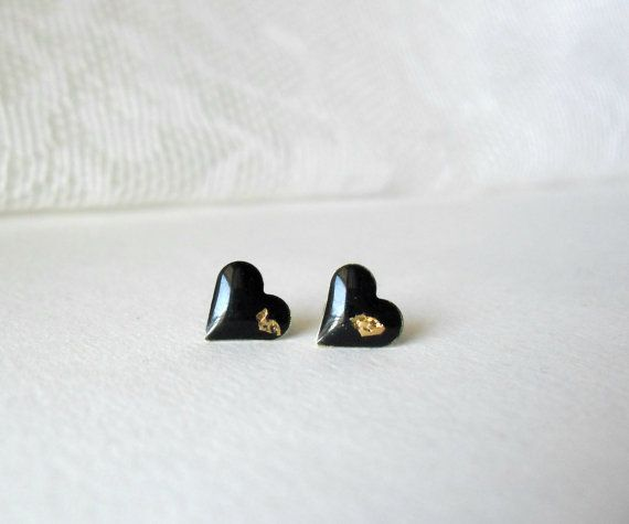 Black and gold Heart post earrings Geometric by DivineDecadance