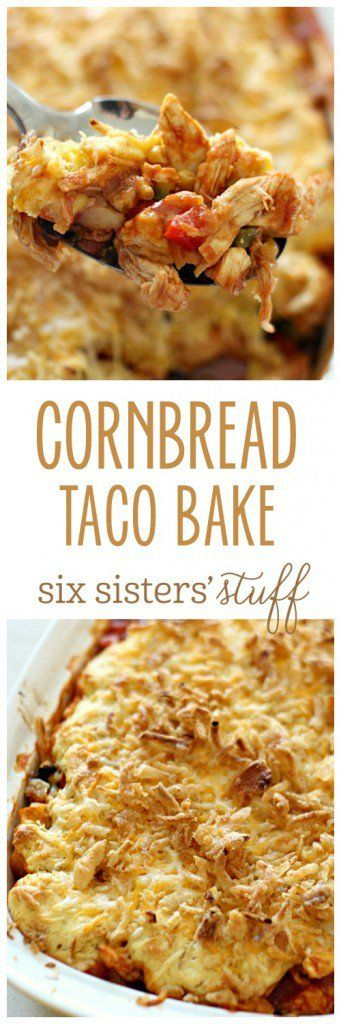 Cornbread Taco Bake on Six Sisters' Stuff | Pick up a rotisserie chicken to whip together this quick and delicious casserole for dinner! This is one the whole family will love!