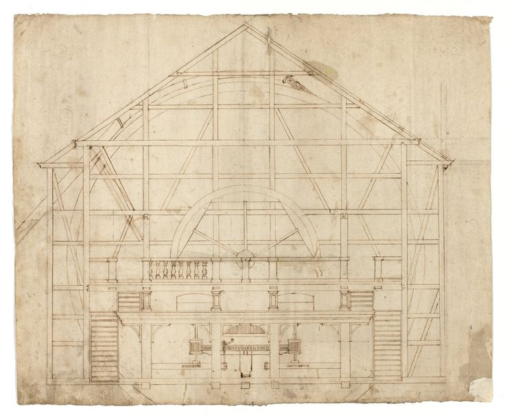 Byggnadsritning för vattenkvarn, 1600-tal. /Construction plan of water mill, 17th century.