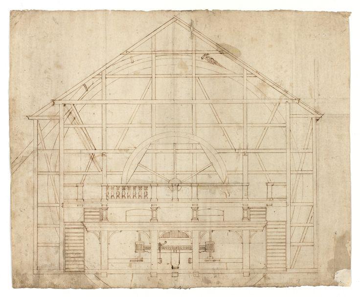 Byggnadsritning för vattenkvarn, 1600-tal. /Construction plan of water mill, 17th century.