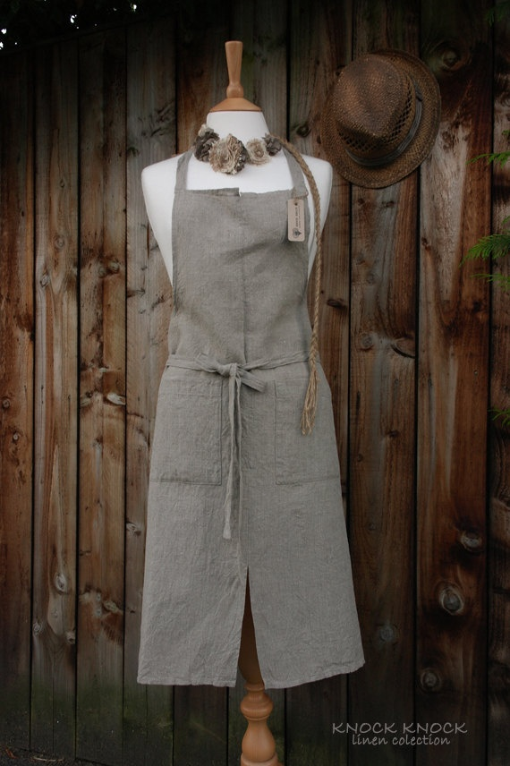 SALE Handmade Linen Apron, Wrinkled Texture, Rough, Natural Linen. £29.00, via Etsy.