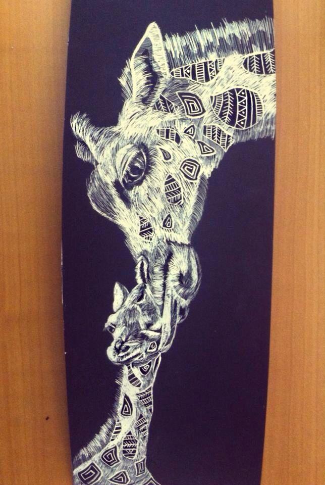 #animals #giraffe #scratchboard #illustration #art #blackandwhite
