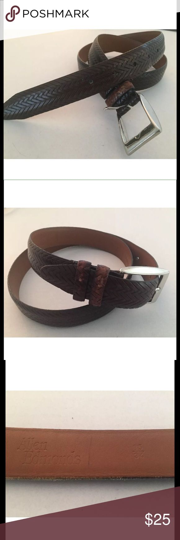 ALLEN EDMONS Sz 34 Italian Calfskin Woven Belt Men's ALLEN EDMOND'S Woven Leather Belt  Made in the U.S  Size: 34  Color: Brown  Material: Leather belt w/ silver tone brass hardware  Condition: Some notice wear but over all in very good condition Allen Edmonds Accessories Belts