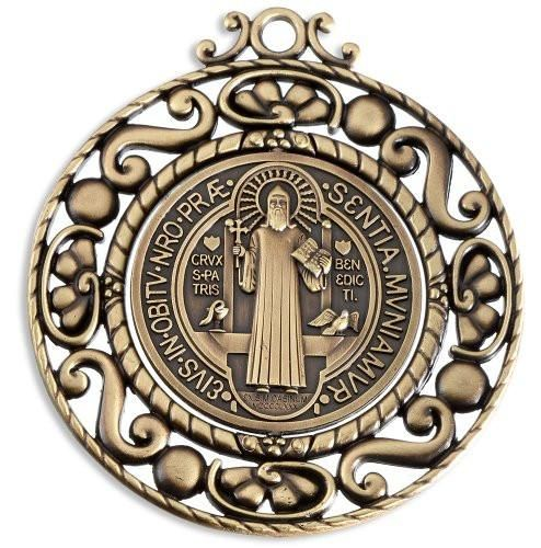 """Bronze Tone Saint St Benedict Large Revolving Catholic Medal for Home Protection - 5.0"""" x 5.5"""""""