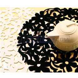 White Round Carving Series Artistic Silhouette Placemat
