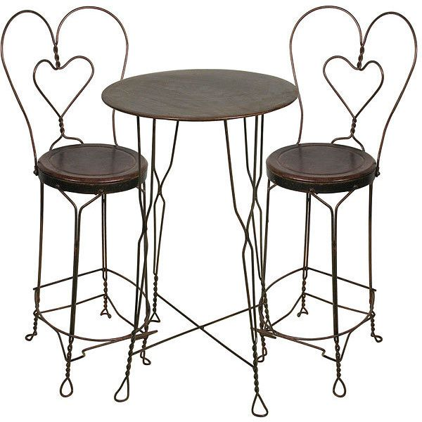 Ice Cream Parlor Set Tall Bistro Table and 2 Chairs ($565) found on Polyvore