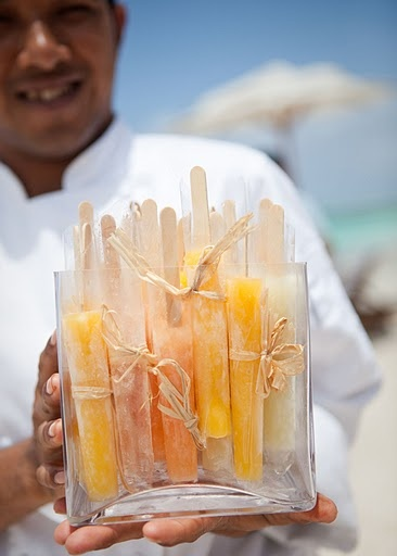 popsicles for cocktail hour to cool off your guests at a summer wedding.  A lot of excitement to your palette is always good!