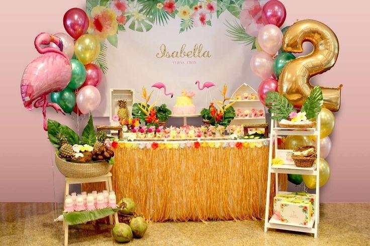 Hawaiian Flamingo birthday party! See more party ideas at CatchMyParty.com!