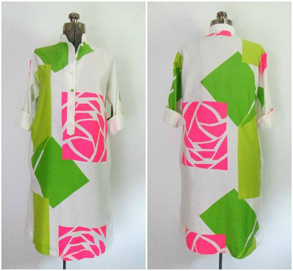 Vintage Mod Tunic Dress Catherine Ogust for Penthouse Gallery 1960s Neon Pink and Green