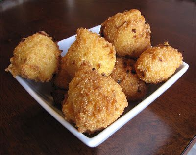 Vegan Hush Puppies. They're crispy outside with a light, fluffy inside.
