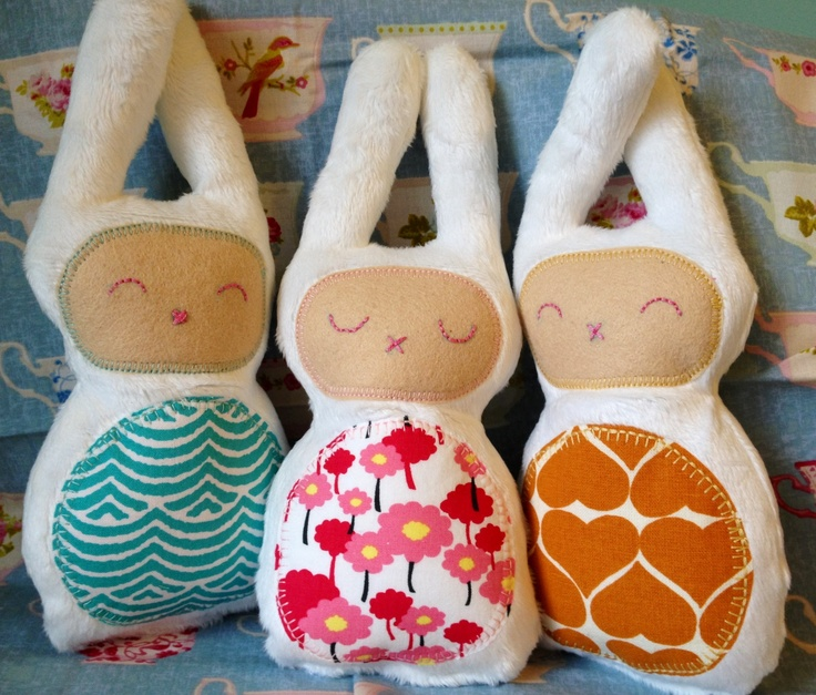 Bunny softies with Umbrella Prints fabric and minky from JuMi Creations on Facebook