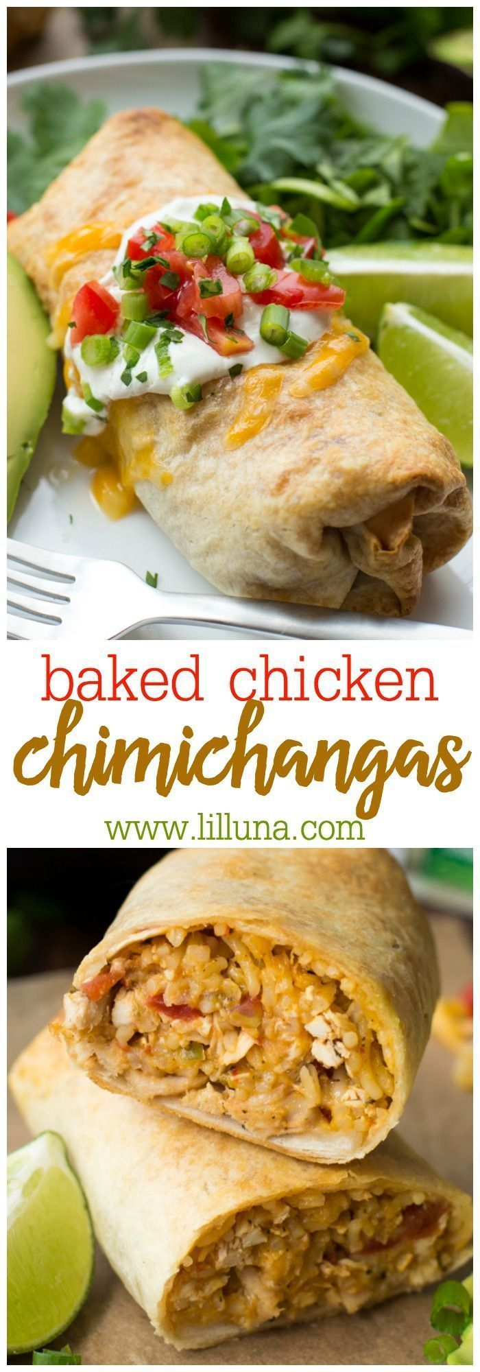 Baked Chicken Chimichangas - stuffed with rice, chicken…