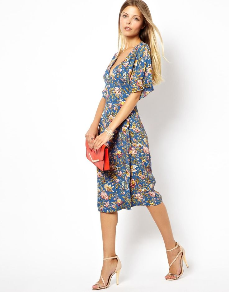 Midi Dress With Kimono Sleeve In Bird Print