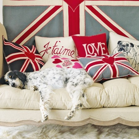 love these quintessentially British cushions designed by Jan Constantine