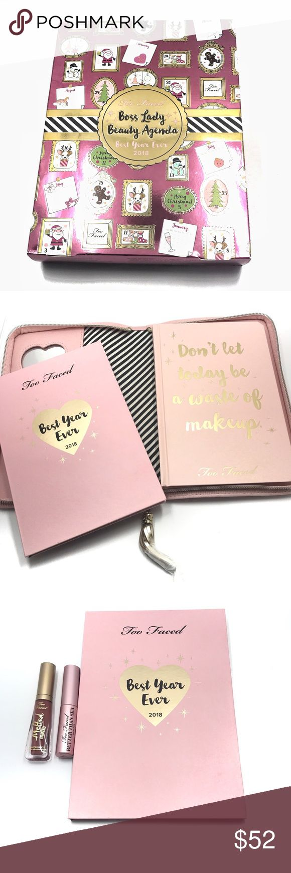 Too Faced Boss Lady Best Of The year Come with a planner, palette, deluxe size mascara, deluxe size lipstick.  Brand New. Too Faced Makeup