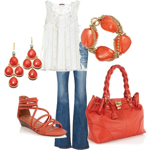 Coral ~ Spring Casual  Again, another dressed up pair of jeans