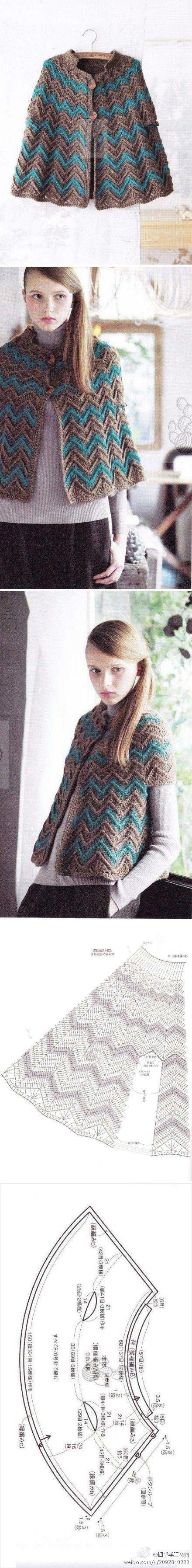 Crochet Cape - Chart ❥ 4U hilariafina http://www.pinterest.com/hilariafina/