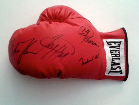 Muhammad Ali, George Foreman, Mike Tyson & Larry Holmes Signed Boxing Glove