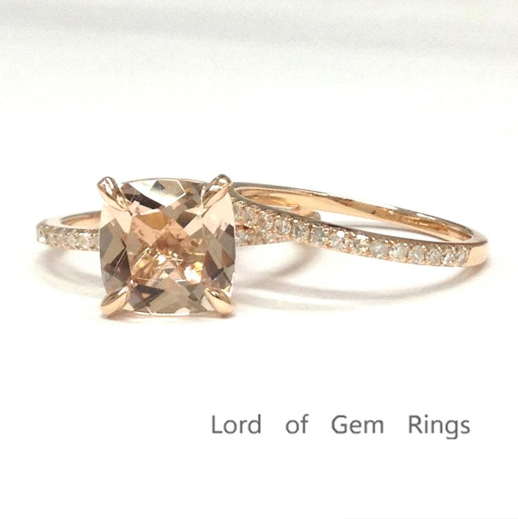8mm Cushion Cut Morganite Engagement Pave Diamonds Ring Set Solid 14K Rose Gold #LOGR