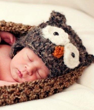 Little Brown Hootie Owl Newborn Hat. $49.00, via Etsy.