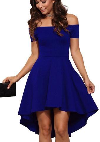Robes de Soiree Cocktail Bleu Asymetrique Toute la Fureur Epaules Denudees