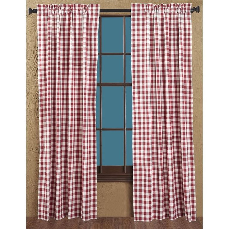 Buffalo Red Check Lined Short Panel Curtains 63 Panel Curtains Rod Pocket And Primitive Country