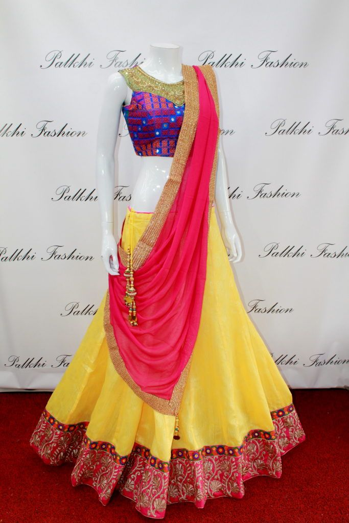 Exclusive Full Flair Light yellow Brocade Chaniya Choli with Attractive Blouse.