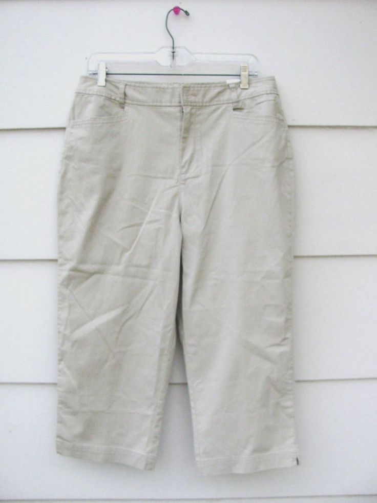 CHRISTOPHER & BANKS Women's Khaki Capri Pants Classic Fit  Average Size 10 #ChristopherBanks #CaprisCropped